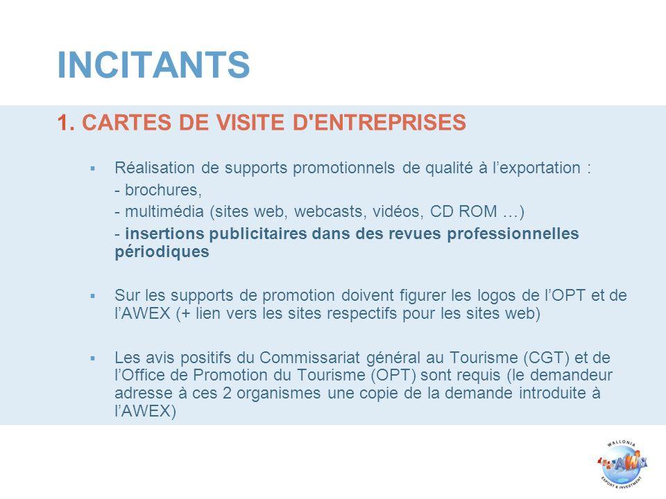 INCITANTS 1.CARTES DE VISITE D'ENTREPRISES Réalisation de supports promotionnels de qualité à lexportation : - brochures, - multimédia (sites web, web