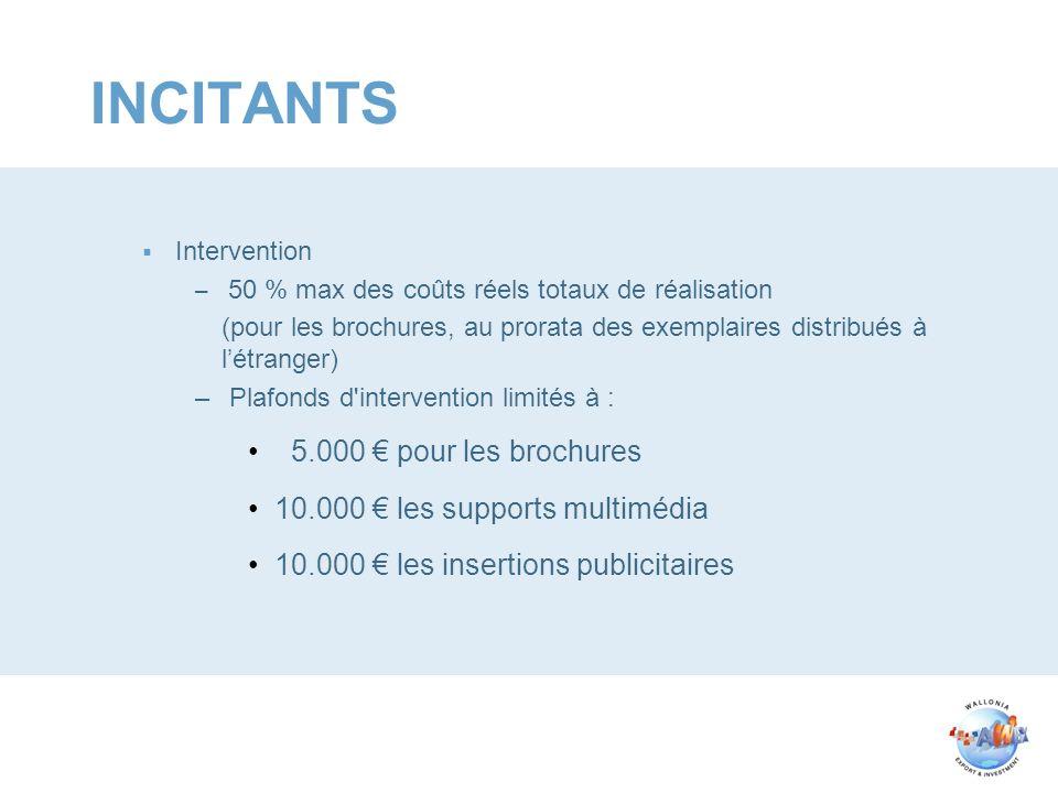 INCITANTS Intervention – 50 % max des coûts réels totaux de réalisation (pour les brochures, au prorata des exemplaires distribués à létranger) – Plaf