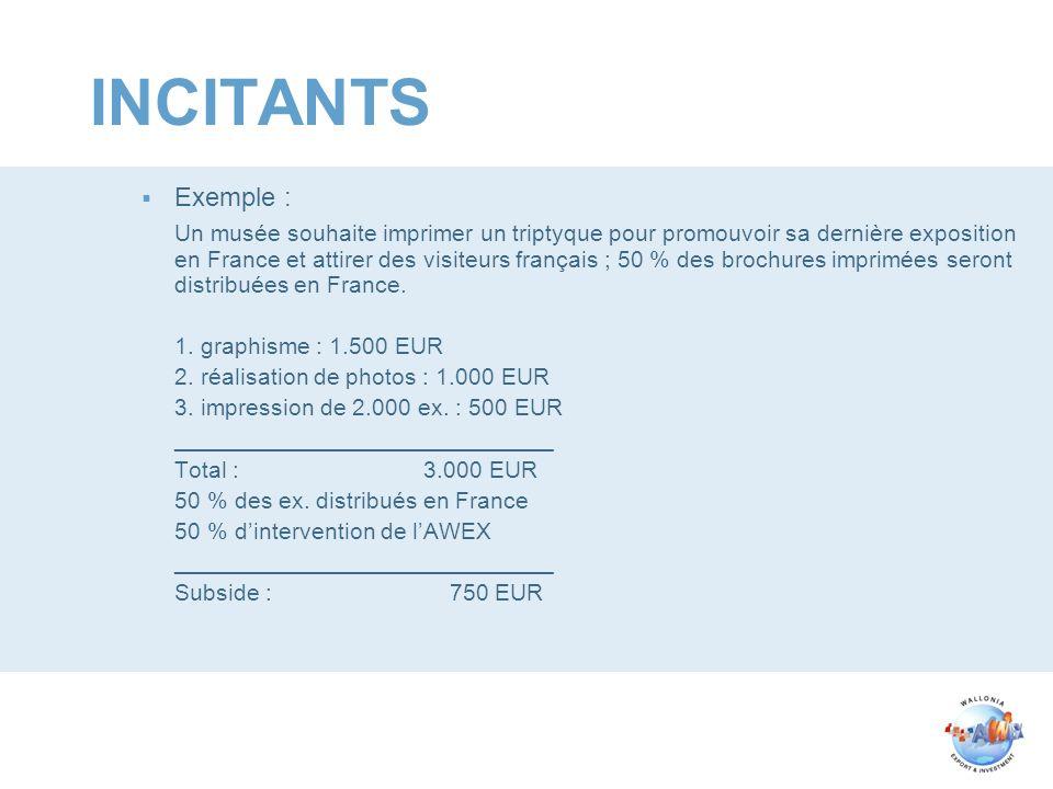 INCITANTS Exemple : Un musée souhaite imprimer un triptyque pour promouvoir sa dernière exposition en France et attirer des visiteurs français ; 50 % des brochures imprimées seront distribuées en France.