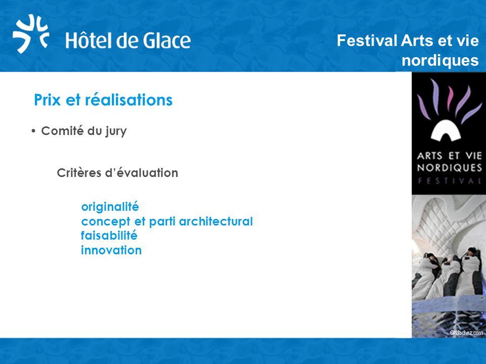 Prix et réalisations Comité du jury Critères dévaluation originalité concept et parti architectural faisabilité innovation Festival Arts et vie nordiques