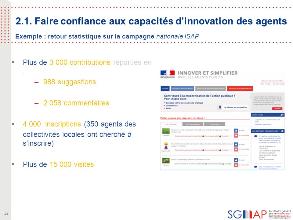 32 Exemple : retour statistique sur la campagne nationale ISAP Plus de 3 000 contributions réparties en : –988 suggestions –2 058 commentaires 4 000 inscriptions (350 agents des collectivités locales ont cherché à sinscrire) Plus de 15 000 visites 2.1.