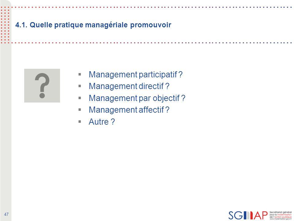 47 4.1. Quelle pratique managériale promouvoir Management participatif .
