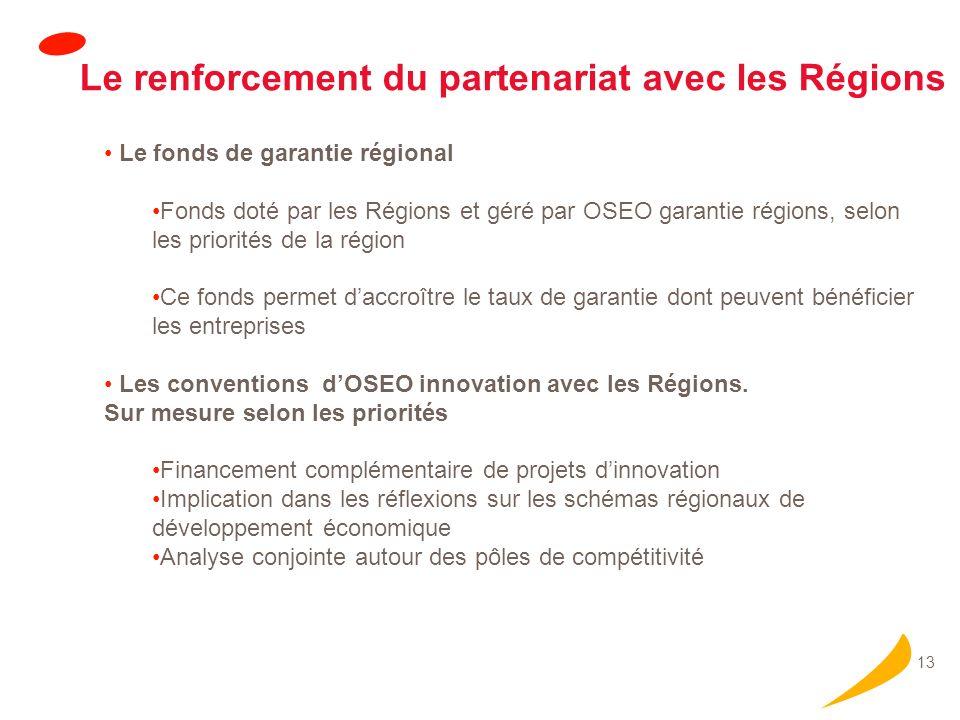 13 Le renforcement du partenariat avec les Régions Le fonds de garantie régional Fonds doté par les Régions et géré par OSEO garantie régions, selon les priorités de la région Ce fonds permet daccroître le taux de garantie dont peuvent bénéficier les entreprises Les conventions dOSEO innovation avec les Régions.