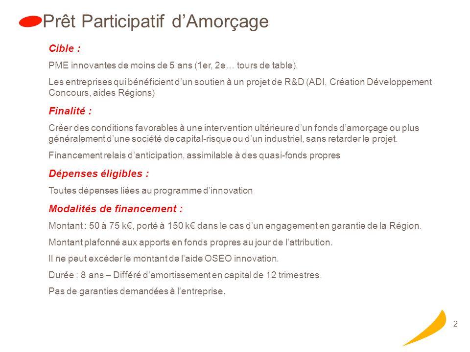 2 Prêt Participatif dAmorçage Cible : PME innovantes de moins de 5 ans (1er, 2e… tours de table).