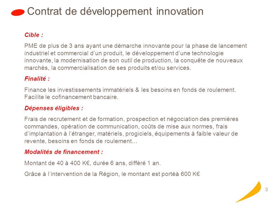 3 Contrat de développement innovation Cible : PME de plus de 3 ans ayant une démarche innovante pour la phase de lancement industriel et commercial dun produit, le développement dune technologie innovante, la modernisation de son outil de production, la conquête de nouveaux marchés, la commercialisation de ses produits et/ou services.