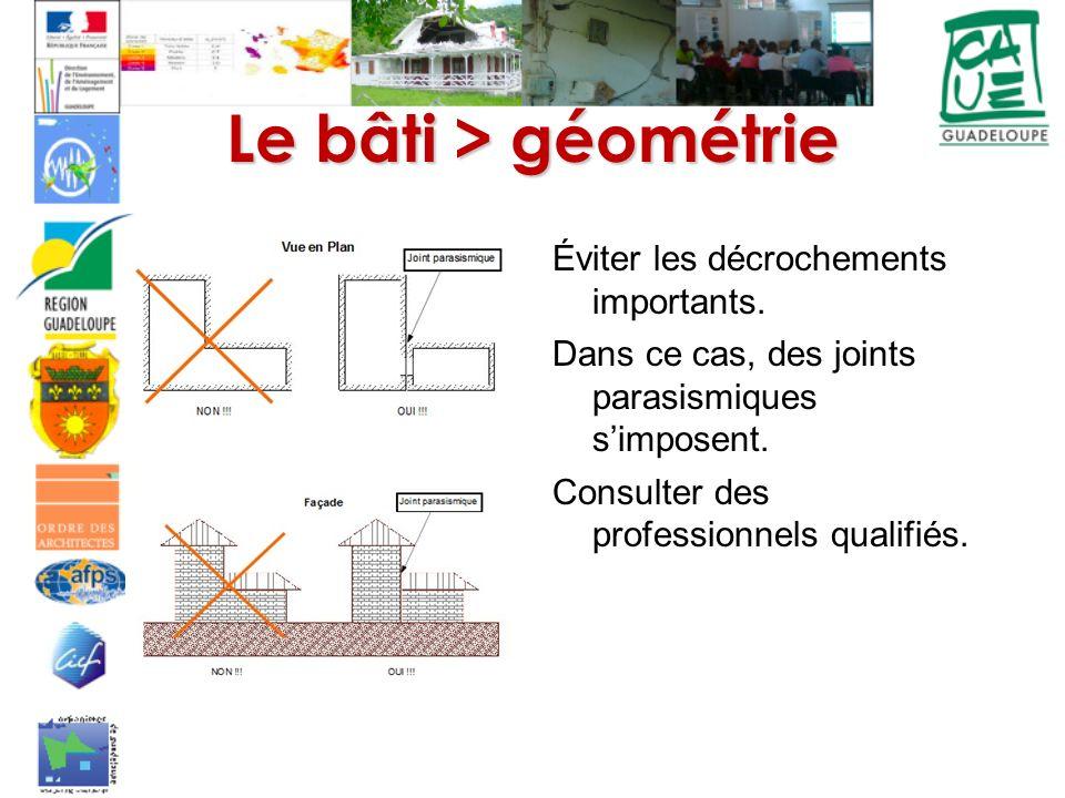 Le bâti > géométrie Éviter les décrochements importants. Dans ce cas, des joints parasismiques simposent. Consulter des professionnels qualifiés.