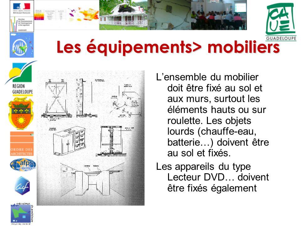 Les équipements> mobiliers Lensemble du mobilier doit être fixé au sol et aux murs, surtout les éléments hauts ou sur roulette.