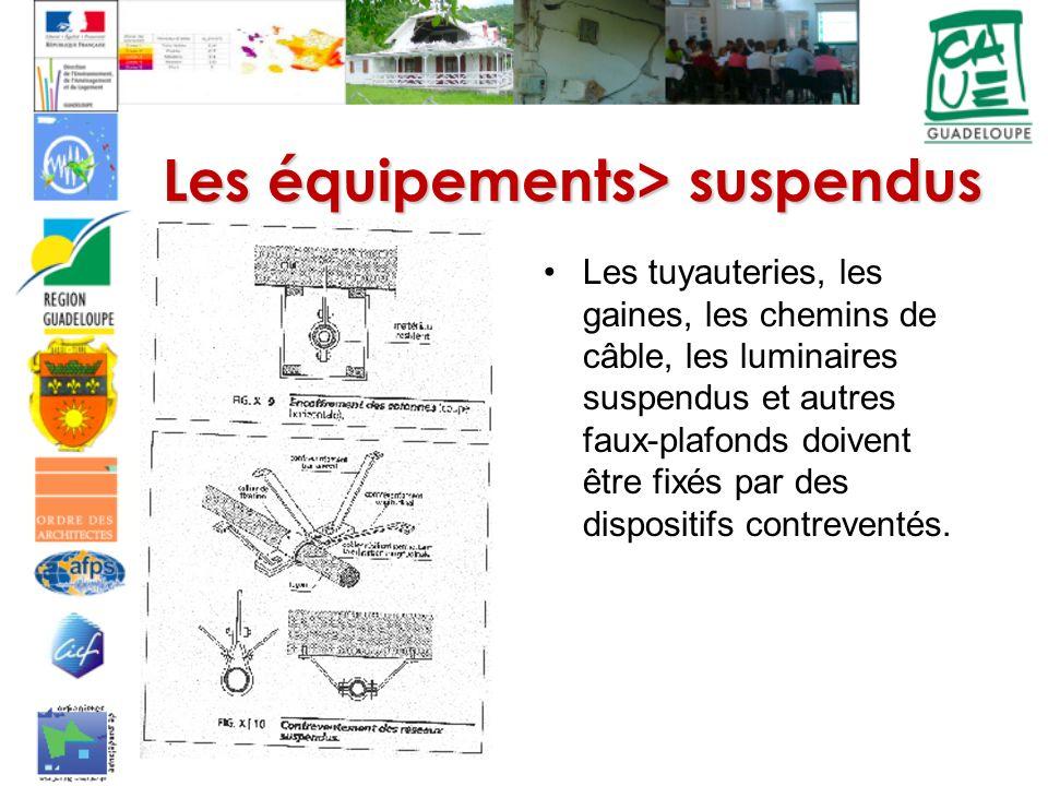 Les tuyauteries, les gaines, les chemins de câble, les luminaires suspendus et autres faux-plafonds doivent être fixés par des dispositifs contreventés.