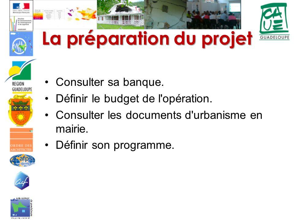 La préparation du projet Consulter sa banque. Définir le budget de l'opération. Consulter les documents d'urbanisme en mairie. Définir son programme.