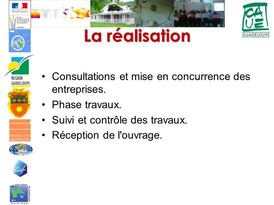 La réalisation Consultations et mise en concurrence des entreprises.