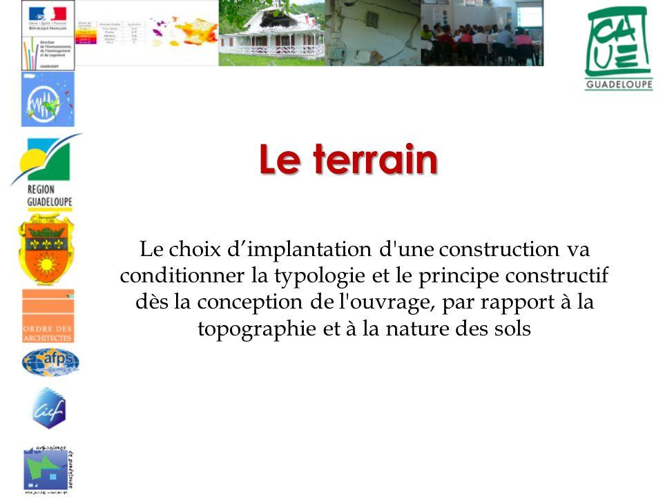 Le terrain Le choix dimplantation d une construction va conditionner la typologie et le principe constructif dès la conception de l ouvrage, par rapport à la topographie et à la nature des sols