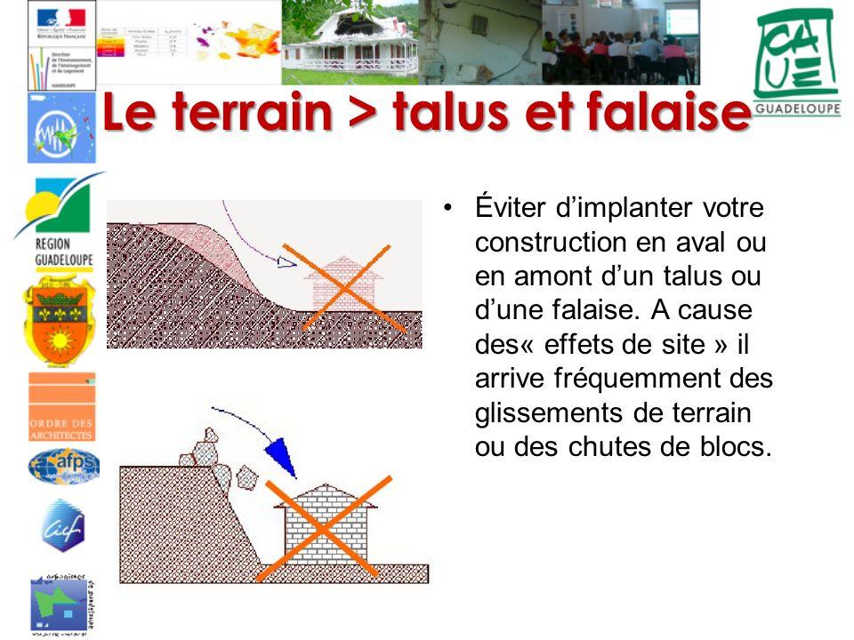 Le terrain > talus et falaise Éviter dimplanter votre construction en aval ou en amont dun talus ou dune falaise. A cause des« effets de site » il arr