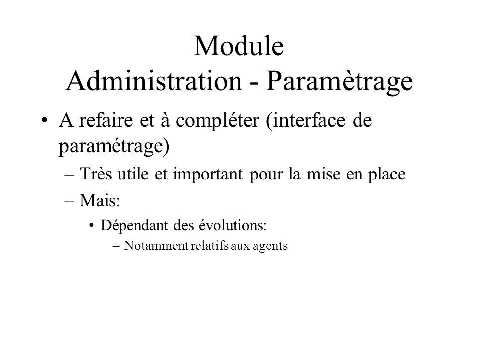 Module Administration - Paramètrage A refaire et à compléter (interface de paramétrage) –Très utile et important pour la mise en place –Mais: Dépendan