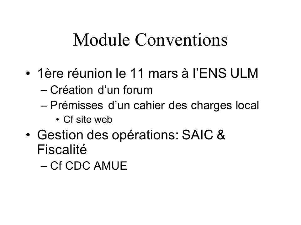 Module Conventions 1ère réunion le 11 mars à lENS ULM –Création dun forum –Prémisses dun cahier des charges local Cf site web Gestion des opérations: