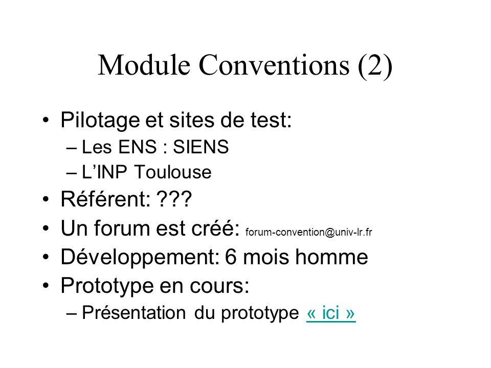 Module Conventions (2) Pilotage et sites de test: –Les ENS : SIENS –LINP Toulouse Référent: ??? Un forum est créé: forum-convention@univ-lr.fr Dévelop