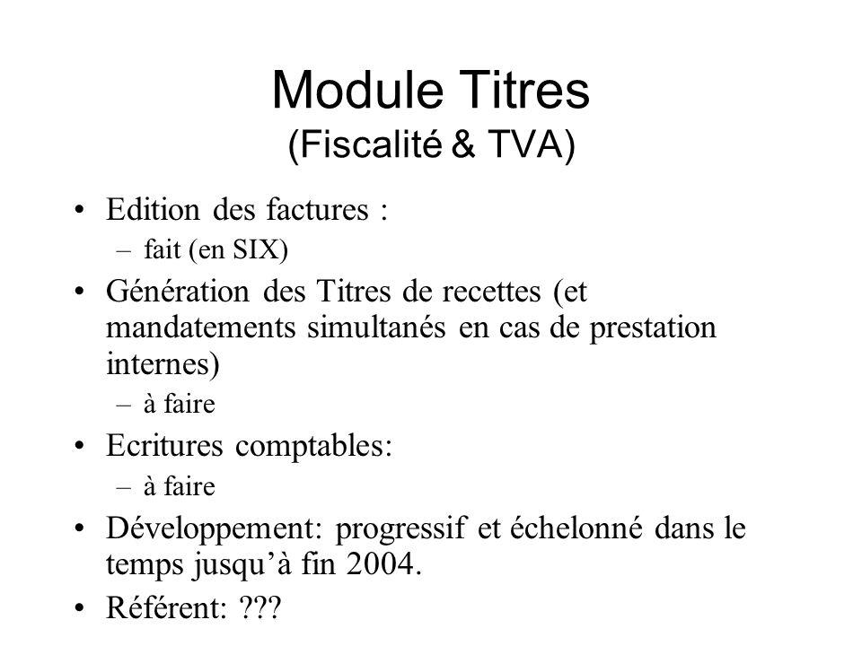 Module Titres (Fiscalité & TVA) Edition des factures : –fait (en SIX) Génération des Titres de recettes (et mandatements simultanés en cas de prestati