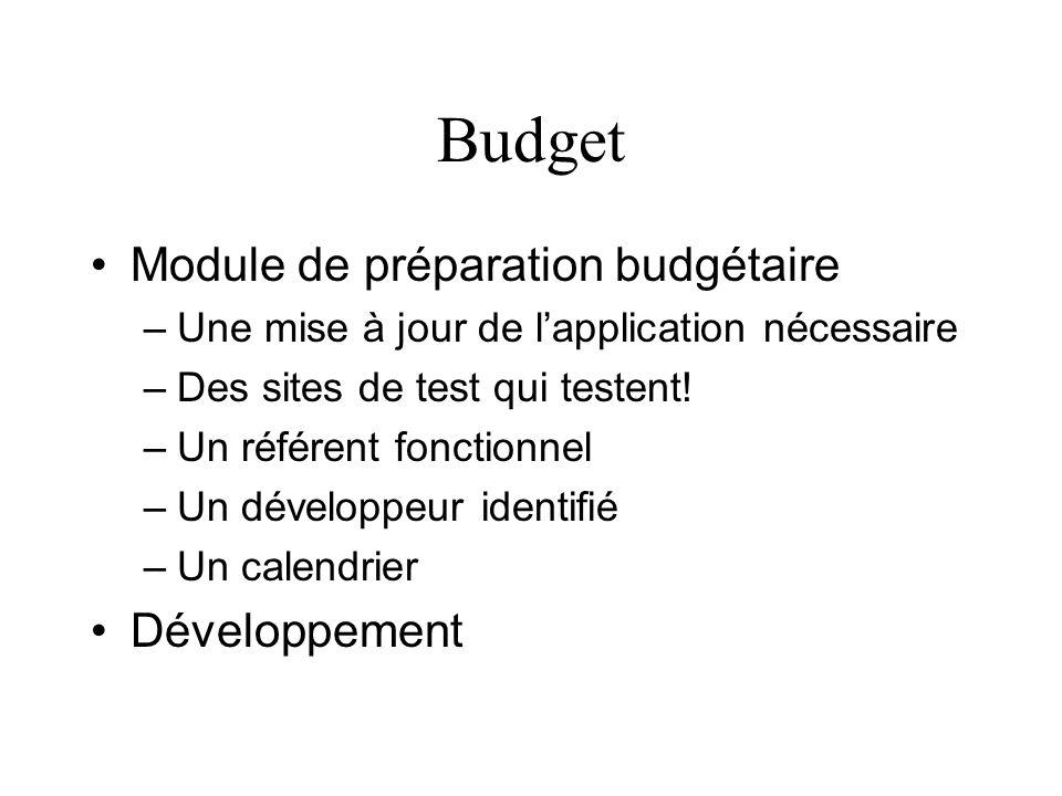 Budget Module de préparation budgétaire –Une mise à jour de lapplication nécessaire –Des sites de test qui testent! –Un référent fonctionnel –Un dével