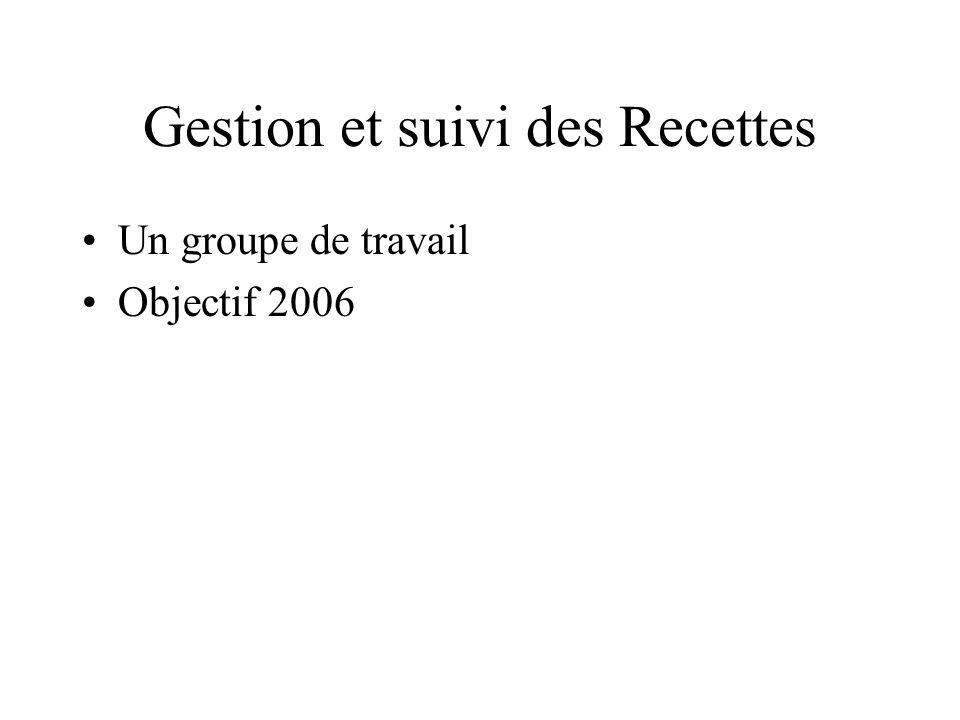 Gestion et suivi des Recettes Un groupe de travail Objectif 2006
