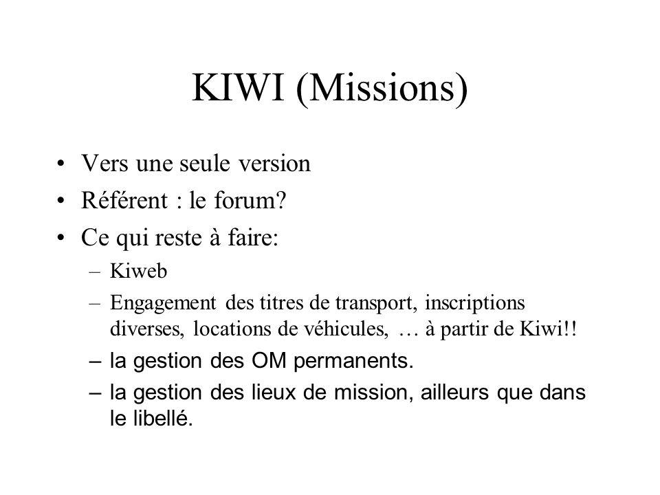 KIWI (Missions) Vers une seule version Référent : le forum? Ce qui reste à faire: –Kiweb –Engagement des titres de transport, inscriptions diverses, l