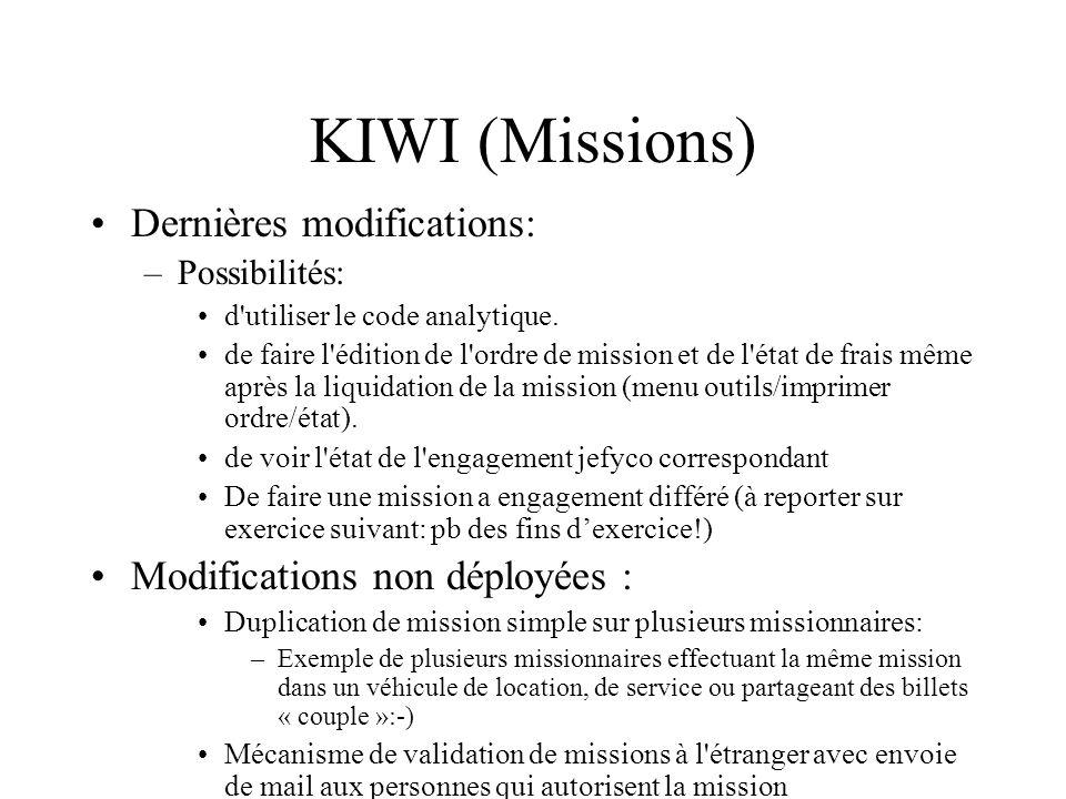 KIWI (Missions) Dernières modifications: –Possibilités: d'utiliser le code analytique. de faire l'édition de l'ordre de mission et de l'état de frais