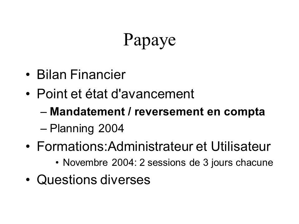 Papaye Bilan Financier Point et état d'avancement –Mandatement / reversement en compta –Planning 2004 Formations:Administrateur et Utilisateur Novembr