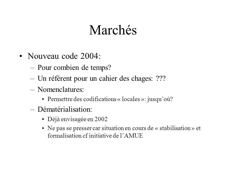 Marchés Nouveau code 2004: –Pour combien de temps? –Un référent pour un cahier des chages: ??? –Nomenclatures: Permettre des codifications « locales »