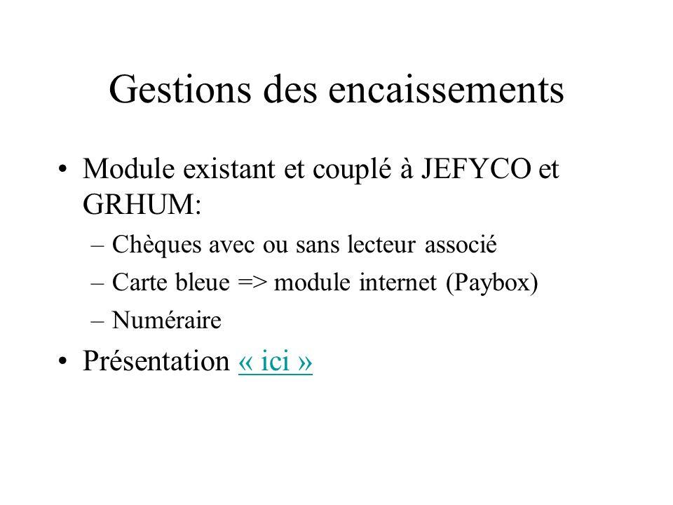 Gestions des encaissements Module existant et couplé à JEFYCO et GRHUM: –Chèques avec ou sans lecteur associé –Carte bleue => module internet (Paybox)