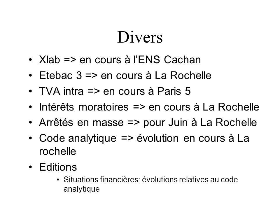 Divers Xlab => en cours à lENS Cachan Etebac 3 => en cours à La Rochelle TVA intra => en cours à Paris 5 Intérêts moratoires => en cours à La Rochelle