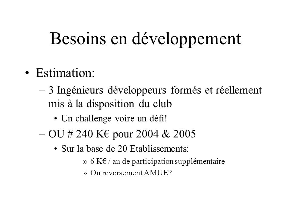 Besoins en développement Estimation: –3 Ingénieurs développeurs formés et réellement mis à la disposition du club Un challenge voire un défi! –OU # 24