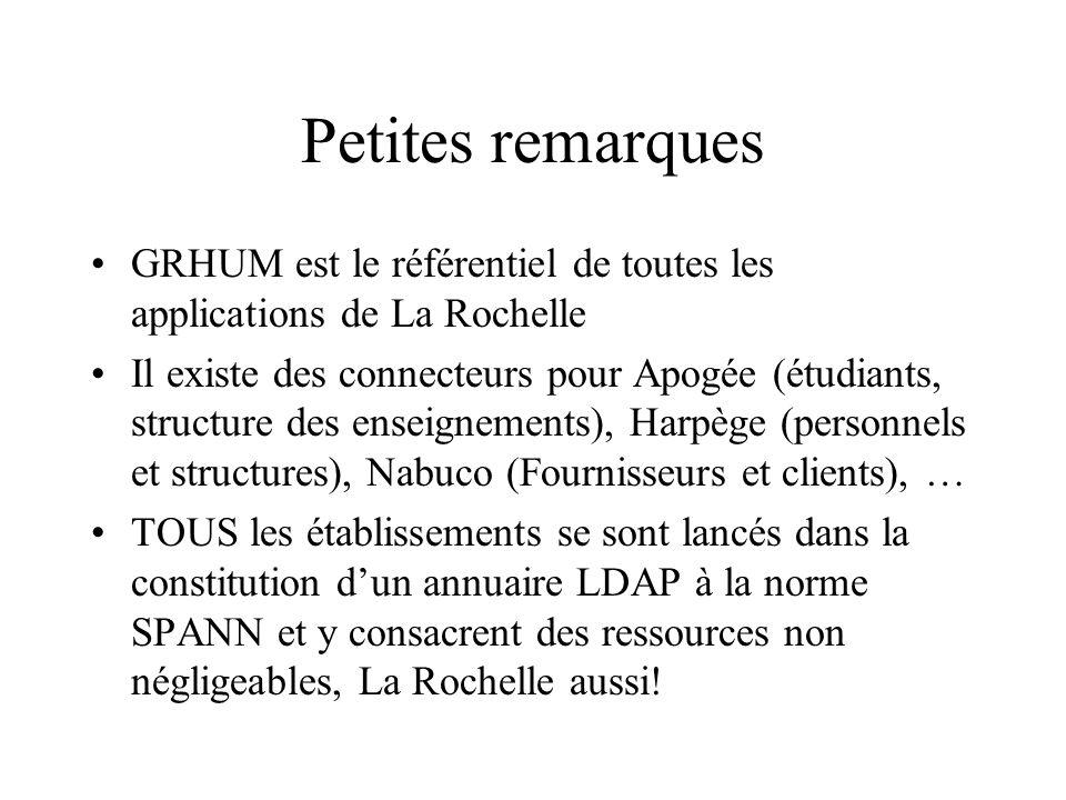 Petites remarques GRHUM est le référentiel de toutes les applications de La Rochelle Il existe des connecteurs pour Apogée (étudiants, structure des e