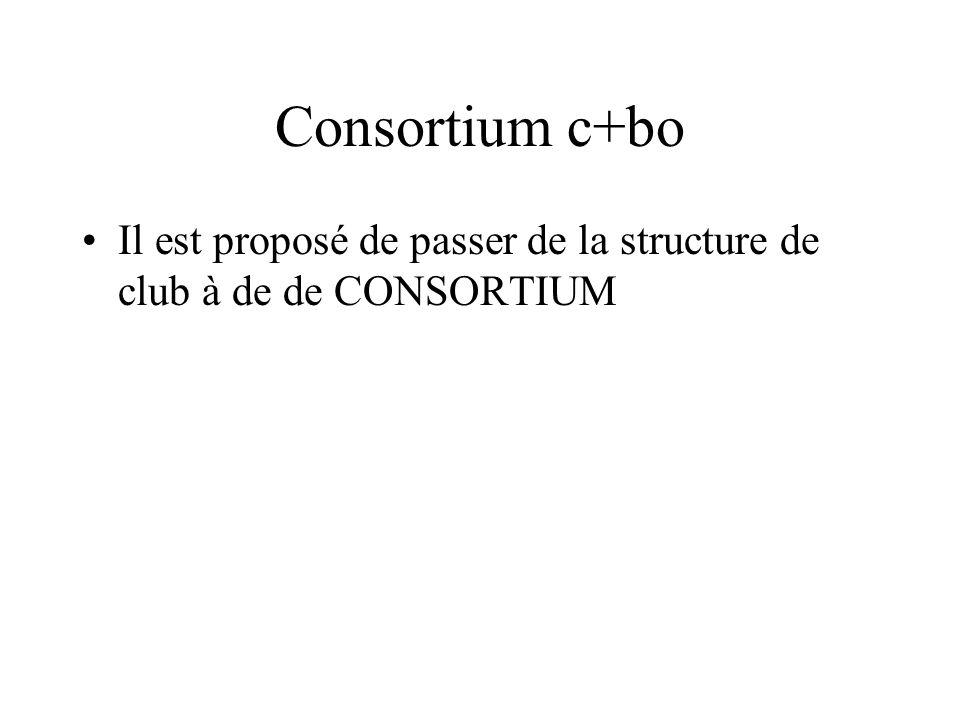 Consortium c+bo Il est proposé de passer de la structure de club à de de CONSORTIUM