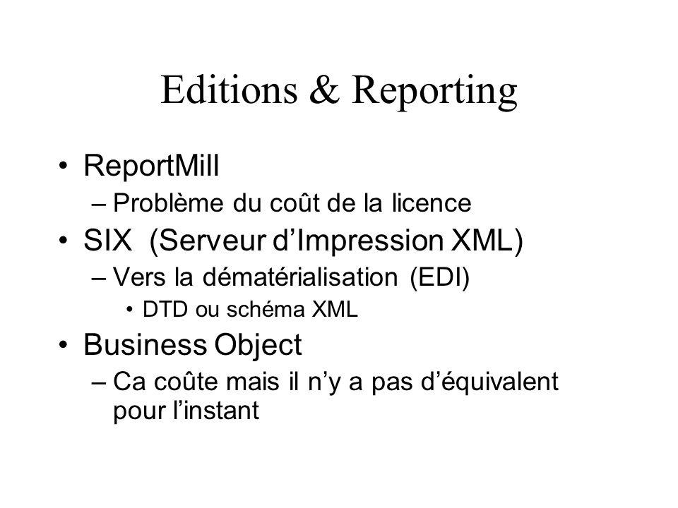 Editions & Reporting ReportMill –Problème du coût de la licence SIX (Serveur dImpression XML) –Vers la dématérialisation (EDI) DTD ou schéma XML Busin