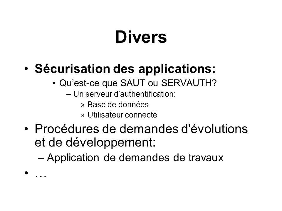 Divers Sécurisation des applications: Quest-ce que SAUT ou SERVAUTH? –Un serveur dauthentification: »Base de données »Utilisateur connecté Procédures