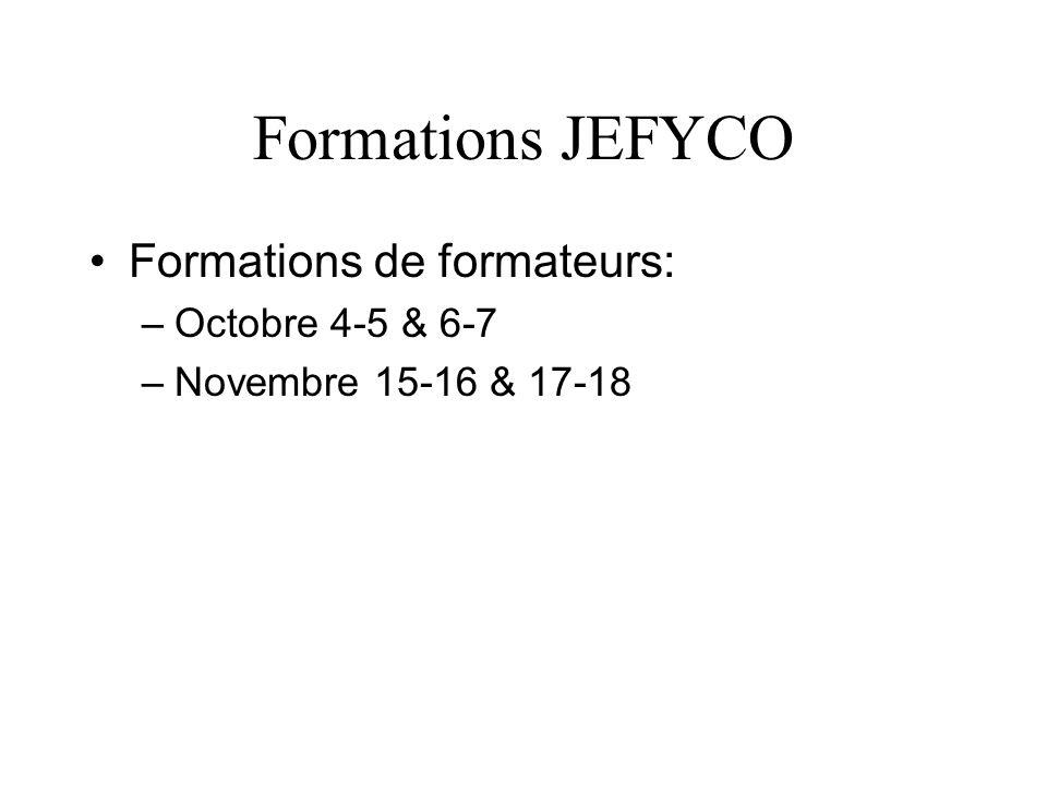 Formations JEFYCO Formations de formateurs: –Octobre 4-5 & 6-7 –Novembre 15-16 & 17-18
