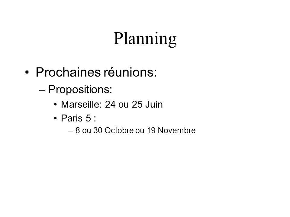 Planning Prochaines réunions: –Propositions: Marseille: 24 ou 25 Juin Paris 5 : –8 ou 30 Octobre ou 19 Novembre