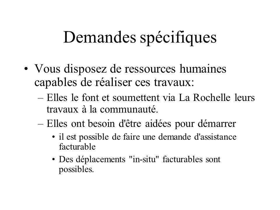 Demandes spécifiques Vous disposez de ressources humaines capables de réaliser ces travaux: –Elles le font et soumettent via La Rochelle leurs travaux