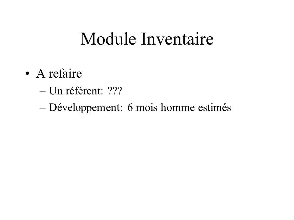 Module Inventaire A refaire –Un référent: ??? –Développement: 6 mois homme estimés