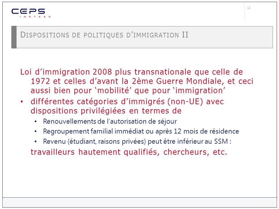 12 D ISPOSITIONS DE POLITIQUES D IMMIGRATION II Loi dimmigration 2008 plus transnationale que celle de 1972 et celles davant la 2ème Guerre Mondiale,