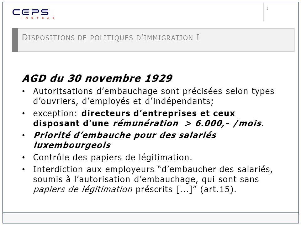 9 D ISPOSITIONS DE POLITIQUES D IMMIGRATION II Transnationalisation de la mobilité des actifs européens après 1945 Regroupement familial: négotiations bilatérales (1945...) Inclusion au marché de lemploi : Libre circulation pour les EM de la CECA (traité de 1951) Libre circulation pour les EM de la CEE (traité 1957, 1612/1968, 1408/1971) Définition des conditions dinclusion aux piliers de base de la sécurité sociale (règlements 1612/1968, 1408/1971) Non-communautaires: souveraineté nationale politiques dimmigration varie selon les Etats-nation/EM