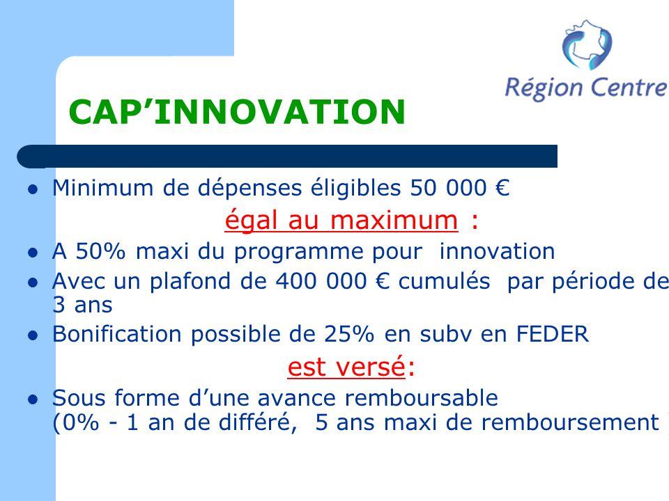 CAPINNOVATION Minimum de dépenses éligibles 50 000 égal au maximum : A 50% maxi du programme pour innovation Avec un plafond de 400 000 cumulés par pé