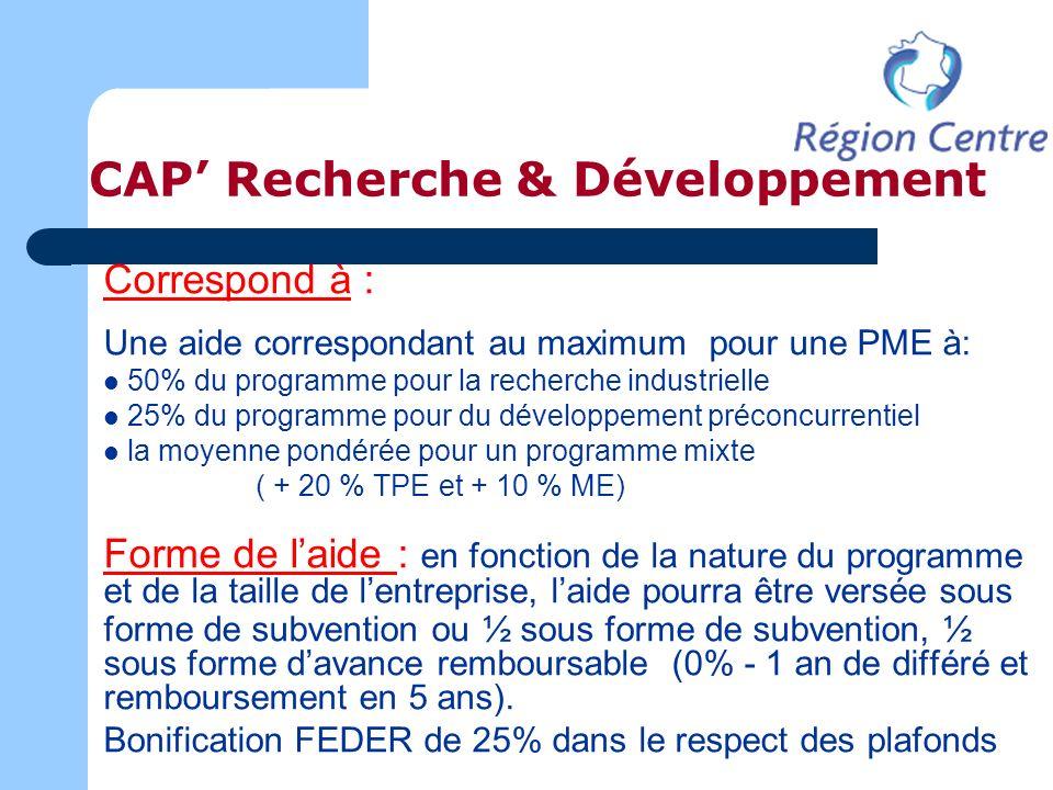 CAP Recherche & Développement Correspond à : Une aide correspondant au maximum pour une PME à: 50% du programme pour la recherche industrielle 25% du