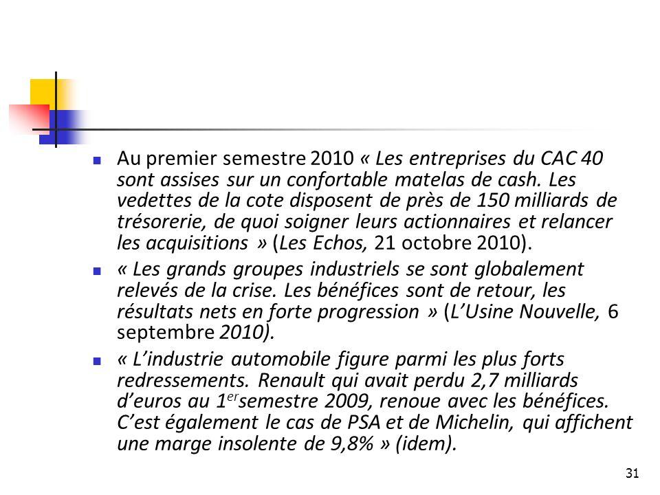 31 Au premier semestre 2010 « Les entreprises du CAC 40 sont assises sur un confortable matelas de cash.
