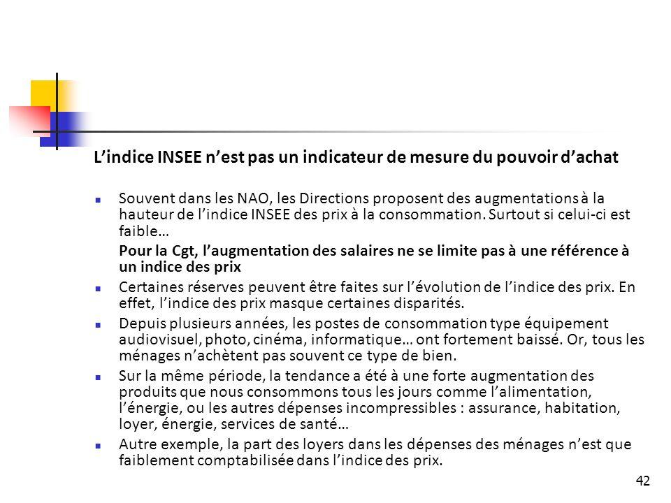 42 Lindice INSEE nest pas un indicateur de mesure du pouvoir dachat Souvent dans les NAO, les Directions proposent des augmentations à la hauteur de lindice INSEE des prix à la consommation.