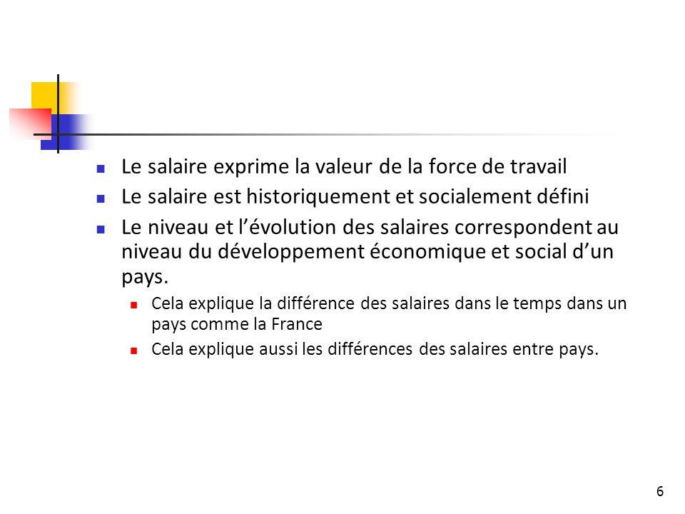 6 Le salaire exprime la valeur de la force de travail Le salaire est historiquement et socialement défini Le niveau et lévolution des salaires correspondent au niveau du développement économique et social dun pays.