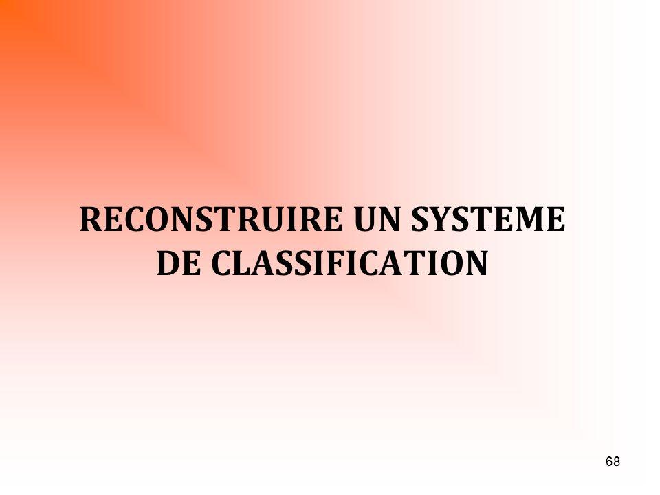 68 RECONSTRUIRE UN SYSTEME DE CLASSIFICATION
