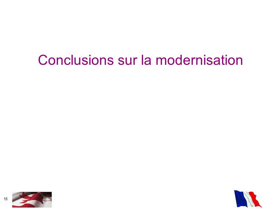 18 Conclusions sur la modernisation