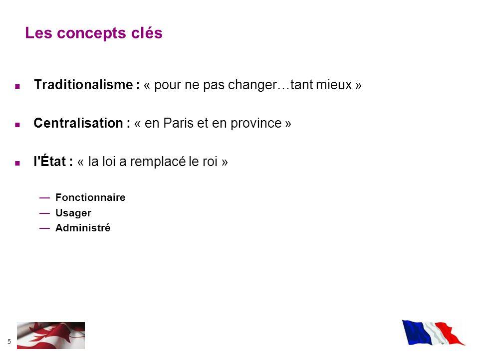 5 Traditionalisme : « pour ne pas changer…tant mieux » Centralisation : « en Paris et en province » l'État : « la loi a remplacé le roi » Fonctionnair