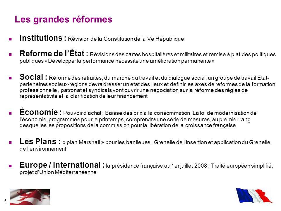 6 Institutions : Révision de la Constitution de la Ve République Reforme de lÉtat : Révisions des cartes hospitalières et militaires et remise à plat