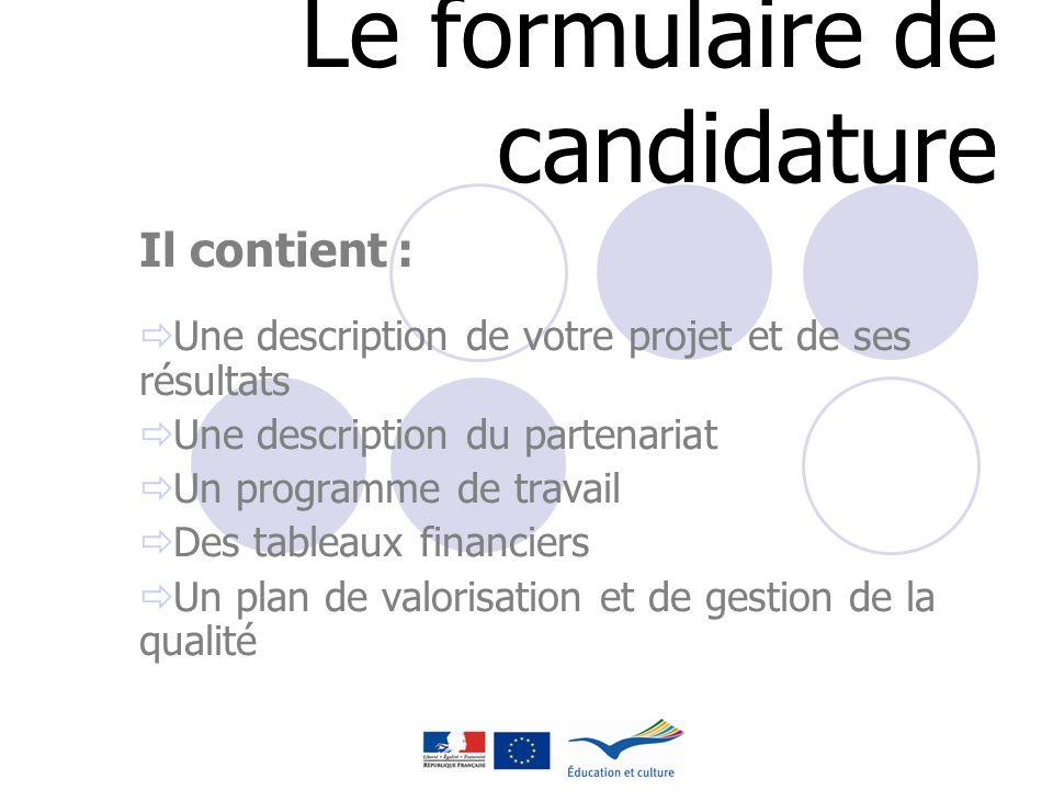 Le formulaire de candidature Il contient : Une description de votre projet et de ses résultats Une description du partenariat Un programme de travail