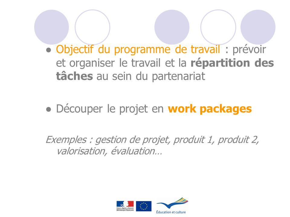 Objectif du programme de travail : prévoir et organiser le travail et la répartition des tâches au sein du partenariat Découper le projet en work pack